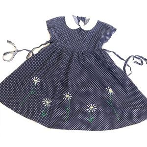 Girls Floral Polka Dot Embroidered Daisy Dress